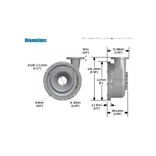 Davies Craig EWP130 alloy pump kit Dimensions